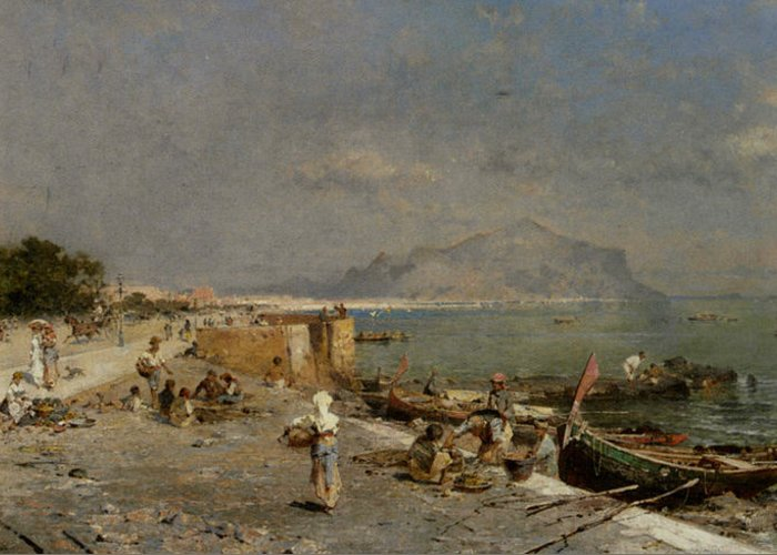 Franz Richard Unterberger Greeting Card featuring the digital art On The Waterfront At Palermo by Franz Richard Unterberger