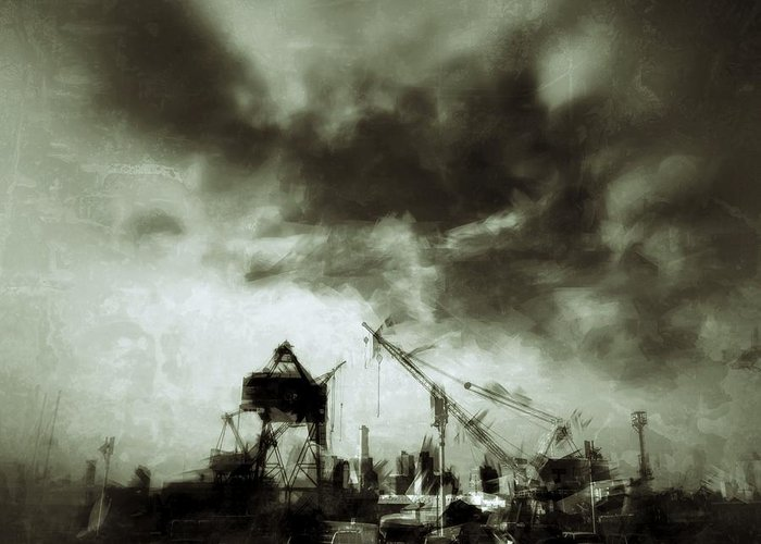 Urban Greeting Card featuring the photograph On The Waterfront by H James Hoff