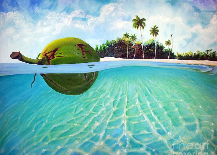 Coconut Greeting Card featuring the painting On The Way by Jose Manuel Abraham