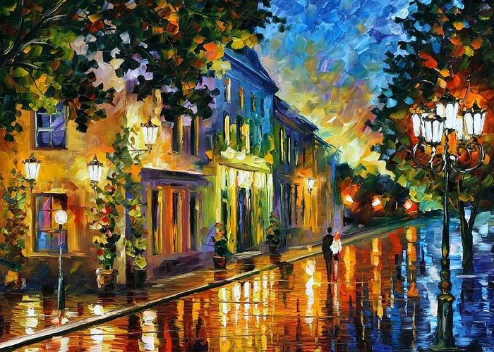 Afremov Greeting Card featuring the painting On The Way To Morning by Leonid Afremov