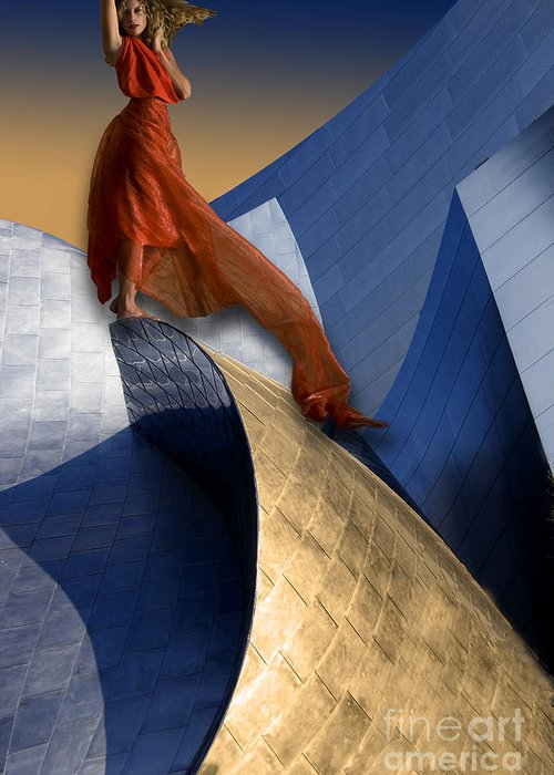 Buildings Greeting Card featuring the digital art On Top Of Disney Hall by Angelika Drake