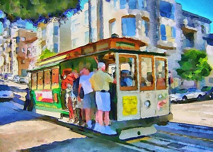 San Greeting Card featuring the digital art On Tram In San Francisco by Yury Malkov