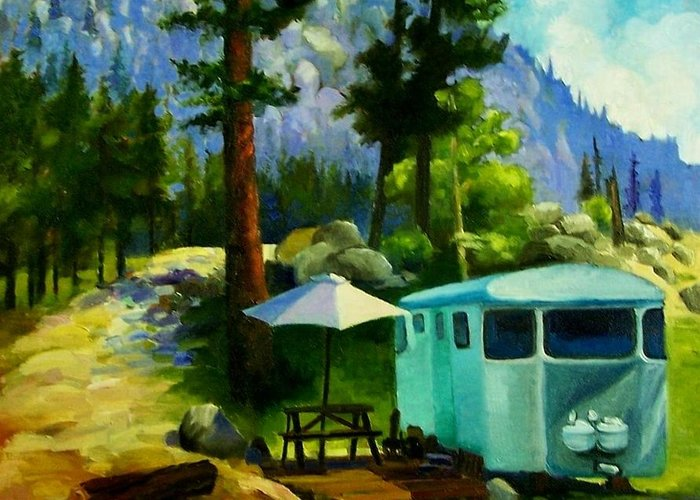 Sierra Greeting Card featuring the painting On Vacation by Janette Reed-Lawson