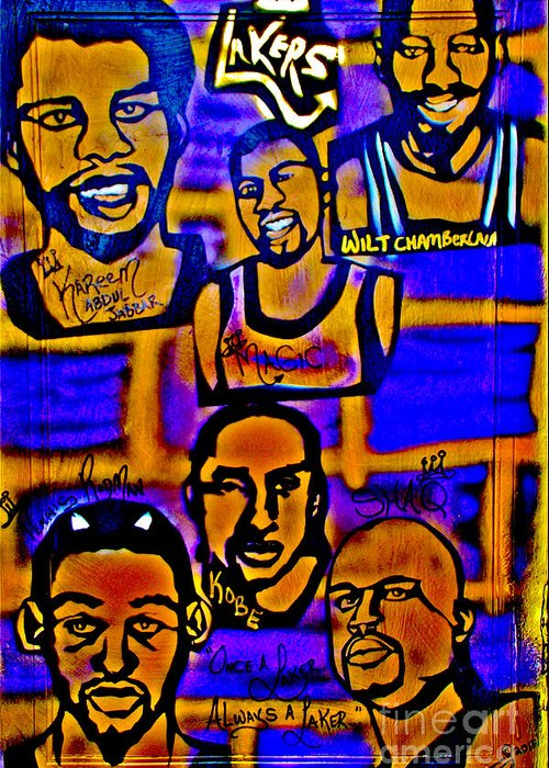 Magic Johnson Greeting Card featuring the painting Once A Laker... by Tony B Conscious