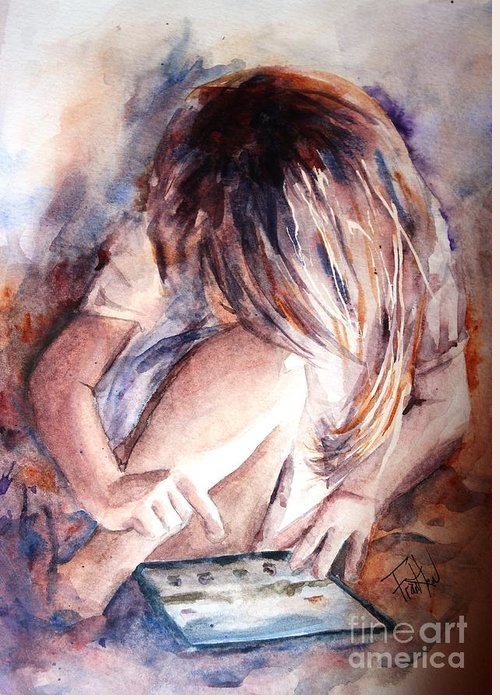 Girl Greeting Card featuring the painting Once Upon An Ipad by Leslie Franklin