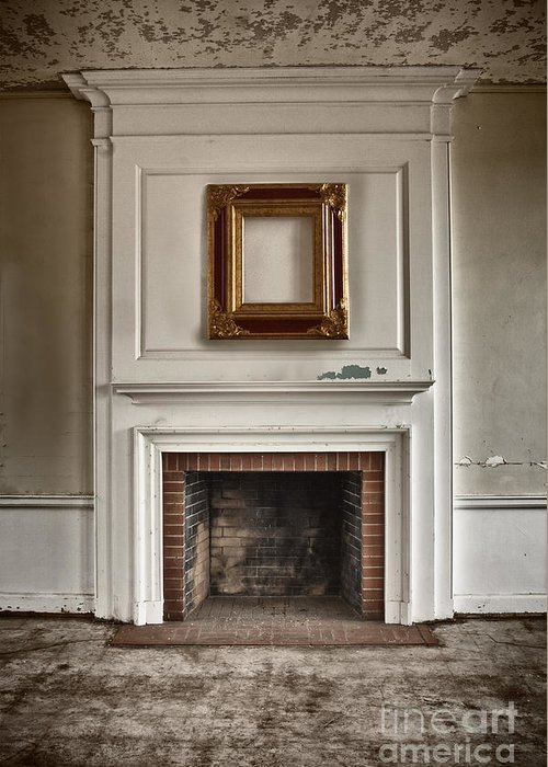 Interior; Inside; Indoors; Room; Living Room; Family Room; Abandoned; Empty; Cement; Peeling; Paint; Dirty; Aged; Creepy; Broken; Fireplace; Hearth; Trim; Frame; Ornate; Crown Molding; Bricks; Still Life Greeting Card featuring the photograph Once Was by Margie Hurwich