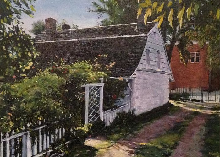 Onderdonk House Greeting Card featuring the painting Onderdonk House Garden by Victor SOTO