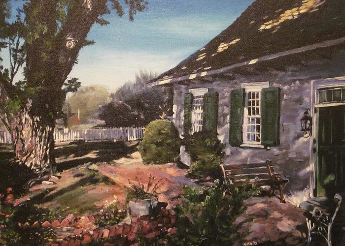 Landscape Greeting Card featuring the painting Onderdonk House by Victor SOTO