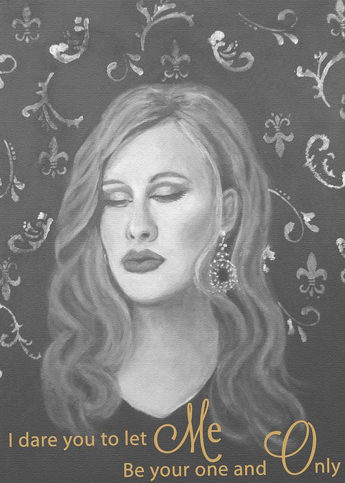 Adele Inspired Greeting Card featuring the painting One And Only by The Art With A Heart By Charlotte Phillips