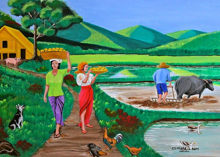 Carabao Greeting Card featuring the painting One Beautiful Morning In The Farm by Cyril Maza