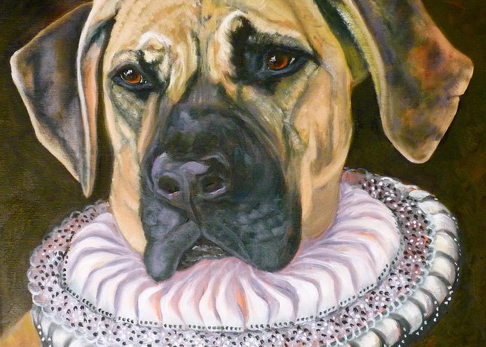 Pooch Greeting Card featuring the painting One Formal Pooch by Susan A Becker
