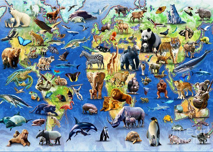 Adrian Chesterman Greeting Card featuring the digital art One Hundred Endangered Species by Adrian Chesterman