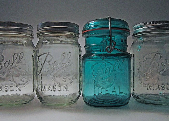 Ball Jar Greeting Card featuring the photograph One Is Different by Mary Bedy