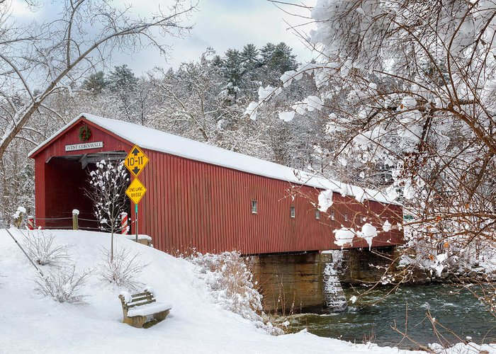 West Cornwall Covered Bridge Greeting Card featuring the photograph One Lane Bridge by Bill Wakeley