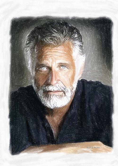 One Of The Most Interesting Man In The World Greeting Card featuring the painting One Of The Most Interesting Man In The World by Angela A Stanton