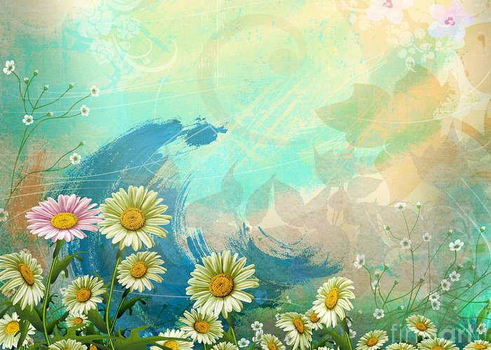 Daisy Greeting Card featuring the digital art One Pink Daisy by Bedros Awak