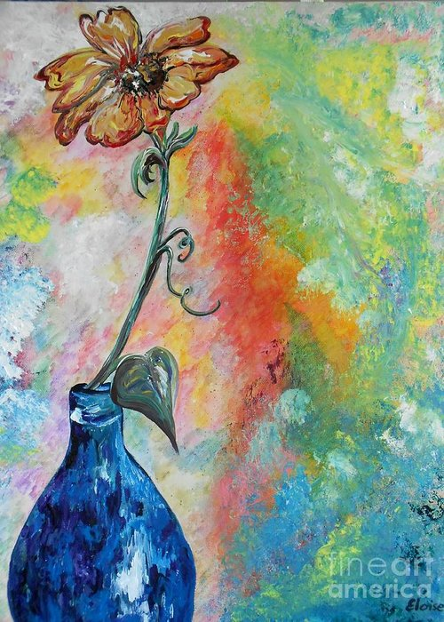 One Greeting Card featuring the painting One Solitary Flower by Eloise Schneider