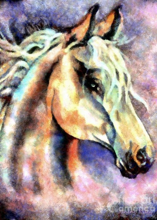 Spirit Greeting Card featuring the painting One Spirit by Janine Riley