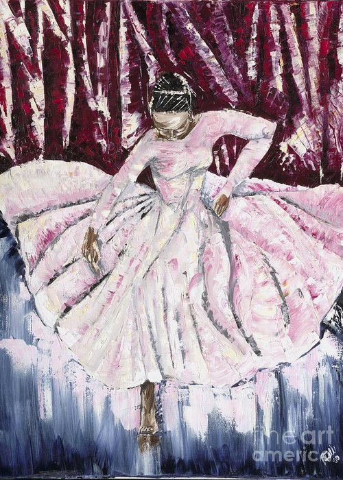 Dancer Greeting Card featuring the painting One Still Moment by Rhonda Falls