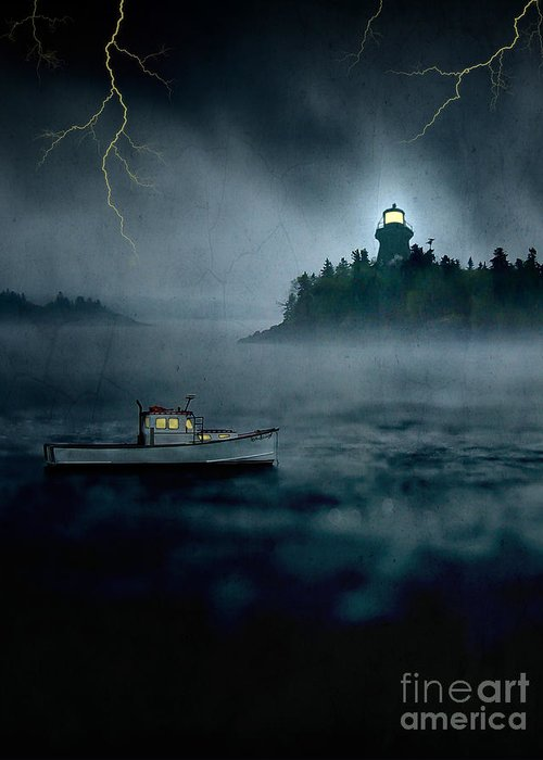 Alaska Greeting Card featuring the photograph One Stormy Night In Maine by Edward Fielding