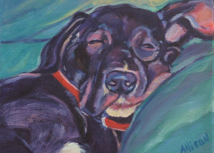 Dog Greeting Card featuring the painting One Tired Puppy by Stephanie Allison