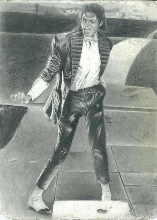 Michael Jackson Greeting Card featuring the drawing One White Step by Antonio Thompson
