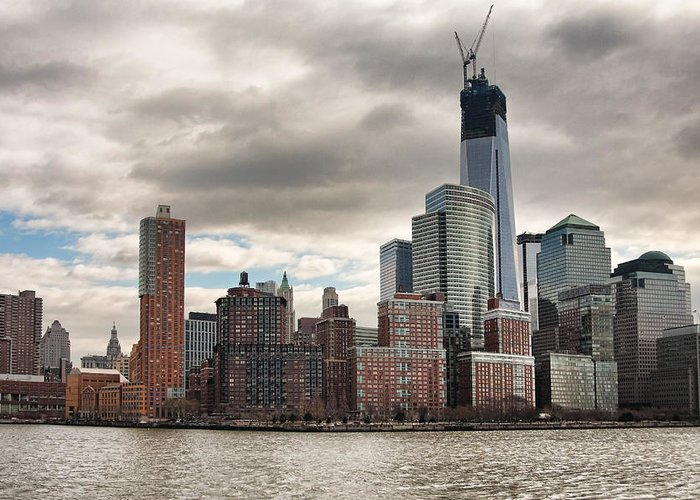 New York City Greeting Card featuring the photograph One World Trade Center by Lindley Johnson