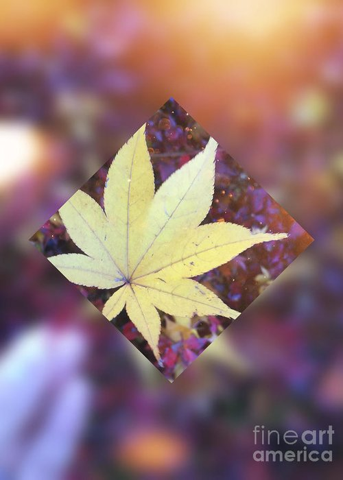 Maple Leaf Greeting Card featuring the digital art One Yellow Maple Leaf by Beverly Claire Kaiya