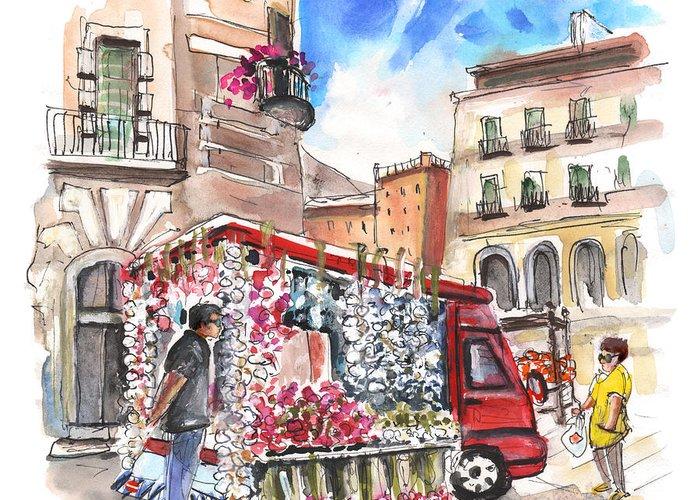 Italian Shopping Drawings Greeting Cards