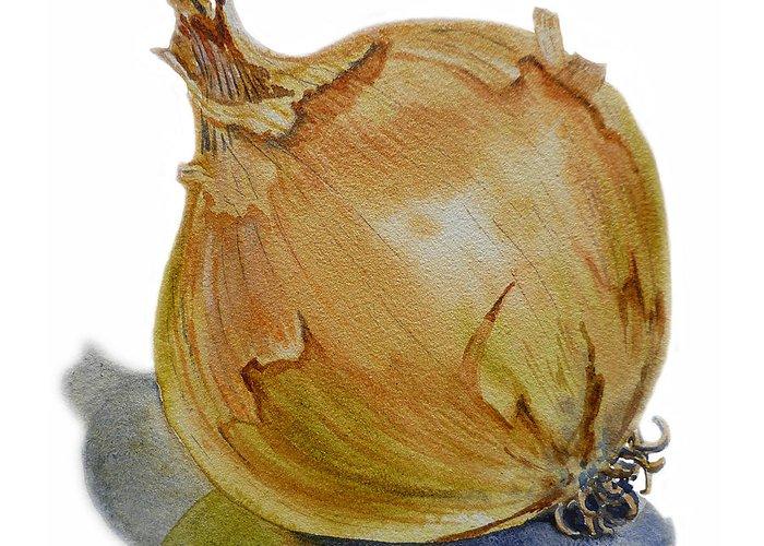 Onion Greeting Card featuring the painting Onion by Irina Sztukowski