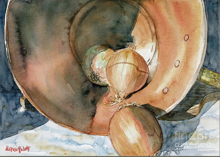 Still Life Greeting Card featuring the painting Onions And Copper by Marisa Gabetta