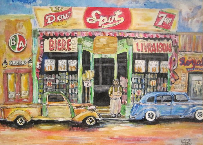 Storefront Greeting Card featuring the painting Ontario Street East 1938 by Michael Litvack