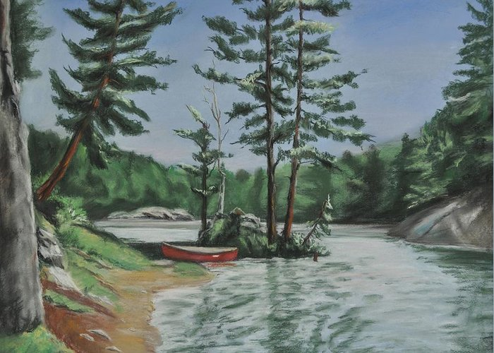 Canoe Greeting Card featuring the painting Ontario's Jewel by Heather Kertzer