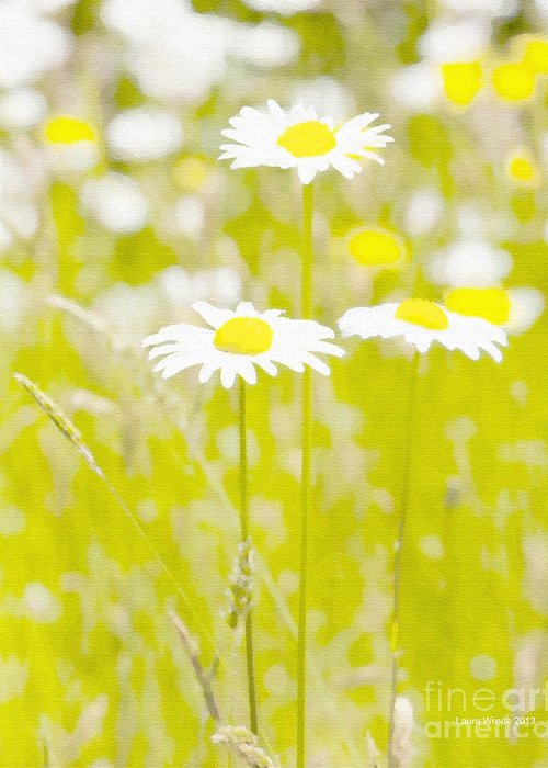 Daisy Greeting Card featuring the painting Oopsy Daisy by Artist and Photographer Laura Wrede