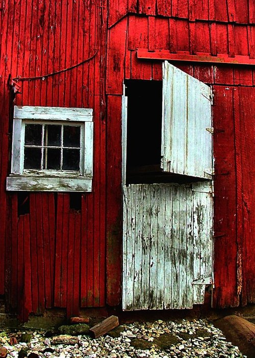 Barns Greeting Card featuring the photograph Open Barn Door by Julie Dant
