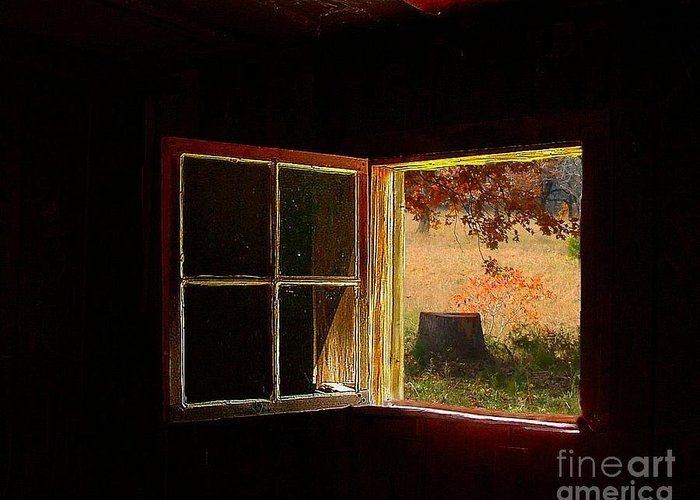 Log Cabin Art Greeting Card featuring the photograph Open Cabin Window II by Julie Dant