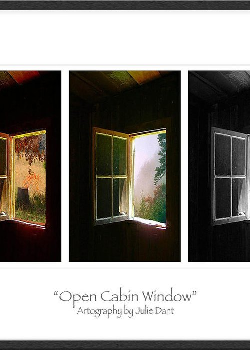 Log Cabin Art Greeting Card featuring the photograph Open Cabin Window Trio by Julie Dant