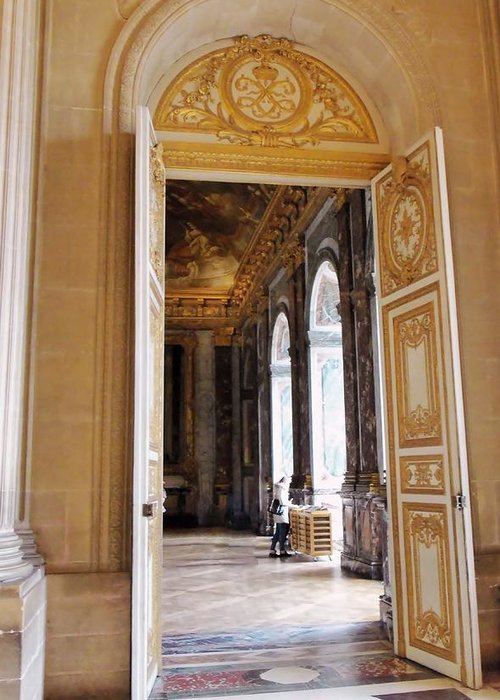 Ancient Buildings Greeting Card featuring the photograph Open Doors At The Palace Of Versailles by Jan Moore