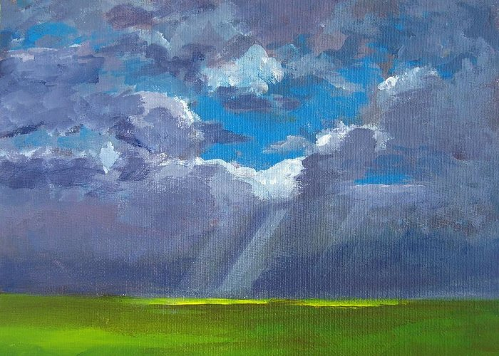 Landscape And Scenic Painting Greeting Card featuring the painting Open Field Majestic by Patricia Awapara