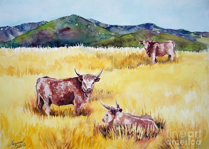 Cows Greeting Card featuring the painting Open Range Patagonia by Summer Celeste