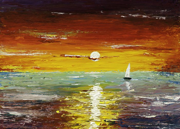 Landscape Greeting Card featuring the painting Open Sea by Gray Artus