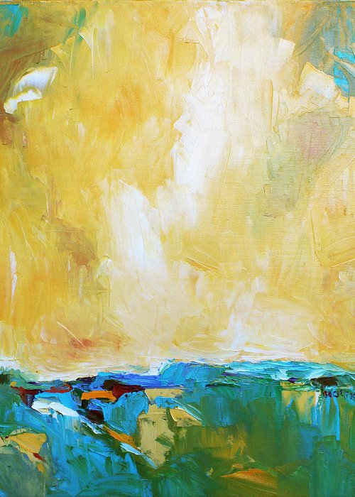 Landscape Greeting Card featuring the painting Openness by Becky Kim