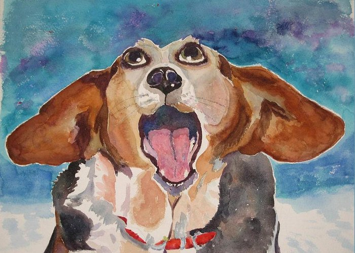Basset Hound Greeting Card featuring the painting Opera Dog by Brenda Kennerly