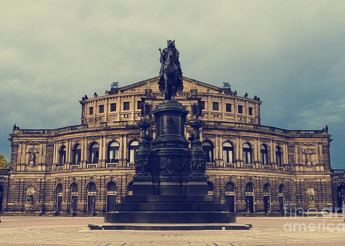 Dresden Greeting Card featuring the pyrography Opera House In Dresden by Jelena Jovanovic