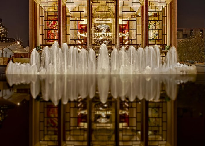 Metropolitan Opera House Greeting Card featuring the photograph Opera House Reflections by Susan Candelario