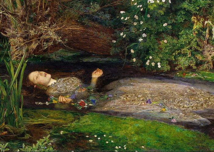 Ophelia Greeting Card featuring the digital art Ophelia by John Everett Millais