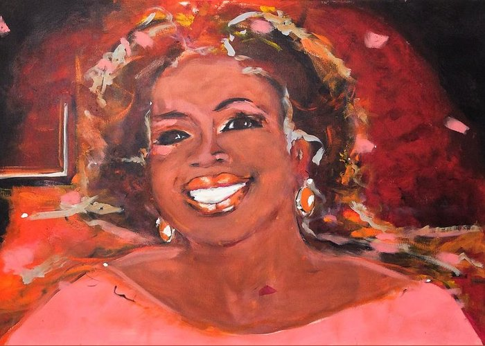 Oprah Winfrey Greeting Card featuring the painting Oprah Winfrey by Nellen Edens