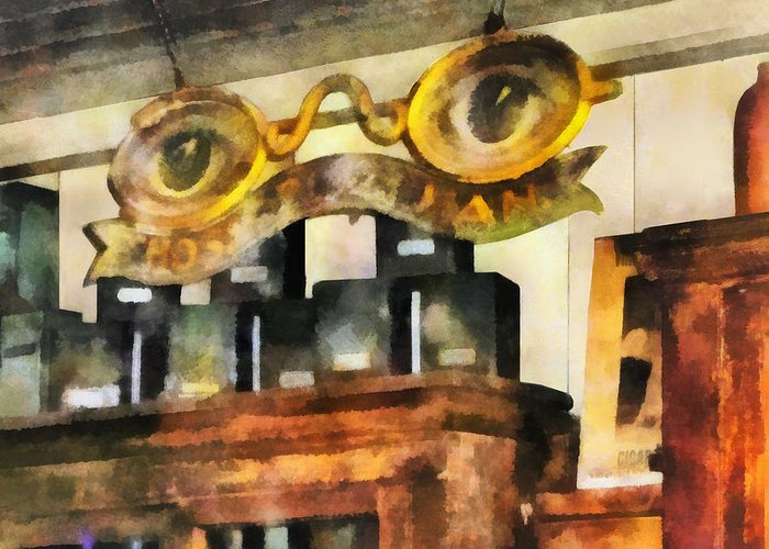 Optometrist Greeting Card featuring the photograph Optometrist - Spectacles Shop by Susan Savad