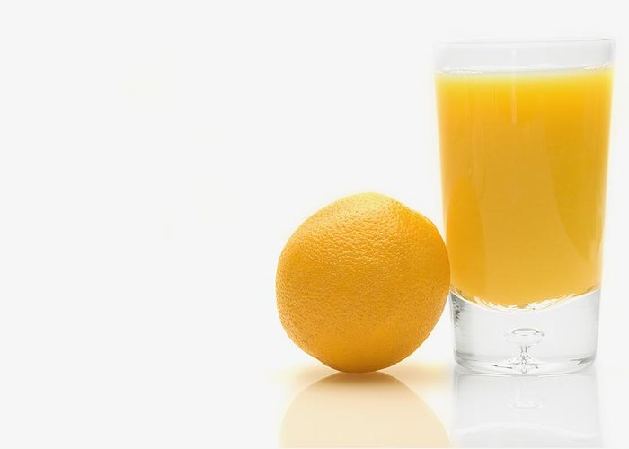 Beverages Greeting Card featuring the photograph Orange And Orange Juice by Darren Greenwood