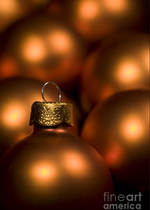 Orange Greeting Card featuring the photograph Orange Baubles by Anne Gilbert